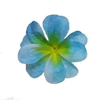 Dokpikul-หัวดอกลีลาวดี ดอกไม้ผ้า ประดิษฐ์ ขนาดเส้นผ่าศูนย์กลาง 8ซม. แพค 100ดอก-สีฟ้ากลางเหลือง