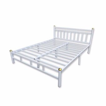 ISO เตียงเหล็กอย่างหนา 6ฟุต รุ่นหัวเหลี่ยม สีขาว