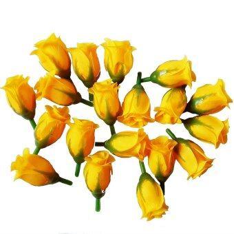 Dokpikul-หัวดอกกุหลาบปลอม ดอกไม้ผ้าประดิษฐ์ กุหลาบตูม กุุหลาบแย้ม สีเหลือง 3ซม.ยาว5ซม. แพค 100ดอก