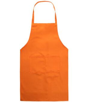 เพศเปื้อนผ้ากันเปื้อนที่มีกระเป๋าด้านหน้าสำหรับทำกับข้าวในครัวทำงานบ้านส้ม