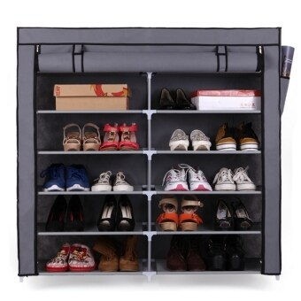 Shoe Rack ชั้นวางรองเท้า 2 บล็อค 6 ชั้น + ผ้าคลุม - สีเทา