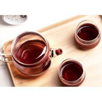 AZ44 Glass Tea Pot ชุดกาน้ำชา แก้วใส พร้อมแก้วชา 2ใบ