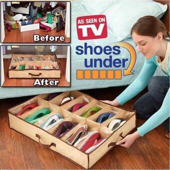 Hayashi-12 Pairs ShoesUnder ที่จัดเก็บรองเท้าประหยัดเนื้อที่ขนาด 12 คู่