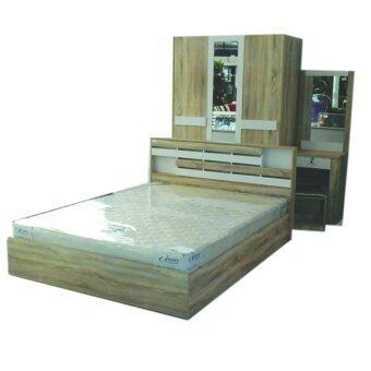 RF Furniture ชุดห้องนอน 5 ฟุต รุ่น ยูโร เตียง 5 ฟุต + ตู้เสื้อผ้า 3 บาน + โต๊ะแป้ง 60 cm + ที่นอนสปริง ( สีโซลิค/ขาว )