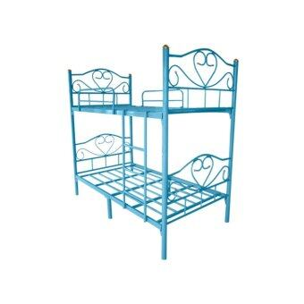 ISO เตียงเหล็ก 2 ชั้น รุ่นหัวใจ ขนาด 3 ฟุต สีฟ้า