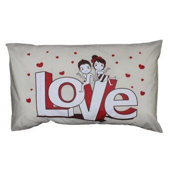 Good Company ปลอกหมอนเดี่ยว Pillowcase ลาย Love - สีครีม