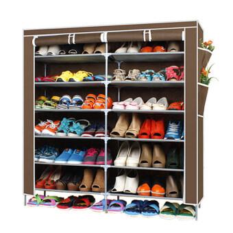ETC ชั้นวางรองเท้า ตู้เก็บรองเท้า ตู้ใส่รองเท้า 6 ชั้น Shoes Rack จำนวน 42 คู่ (สีน้ำตาล)