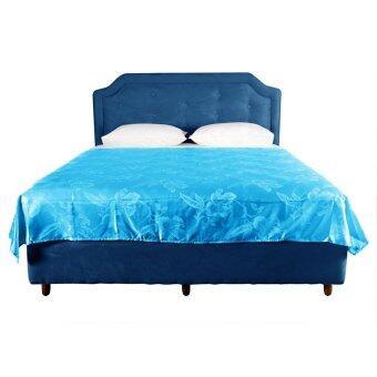 ผ้าห่มแพรทอลายเตียงเดี่ยว เนื้อซาติน ขนาด 6ฟุต รหัส Silk-082
