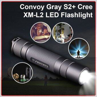 Convoy ไฟฉาย 490LM Gray S2+ Cree XM-L2 LED Flashlight Lamp Cool White 6500-7000K + 18650 Battery