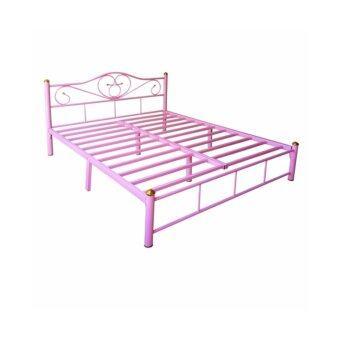 ISO เตียงเหล็กอย่างดี 6ฟุต รุ่น LOTUS ขา2นิ้ว สีชมพู