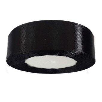 Dokpikul-ริบบิ้นผ้าซาติน สีดำเงา ขนาด 1นิ้ว ยาว 25หลา - สีดำ