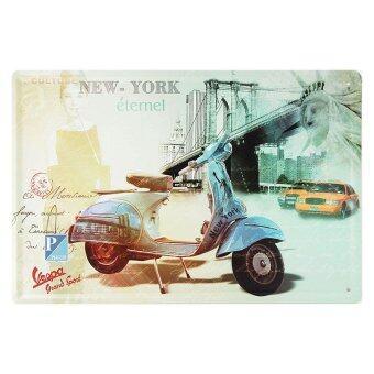 ป้ายสังกะสีวินเทจ Blue Piaggio Vespa @ New York