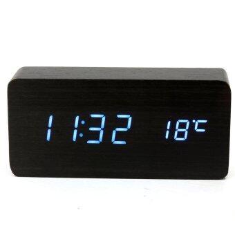 ไม้แบบไม้ USB/AAA สีน้ำเงินนาฬิกาปลุก Led ปฏิทินเครื่องวัดอุณหภูมิสีดำ