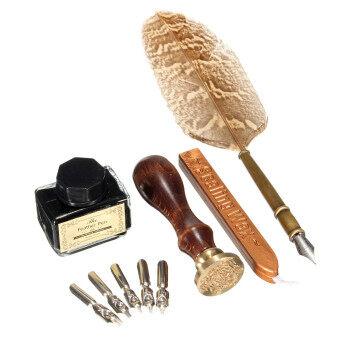 ปากกาขนนกโบราณเขียนหมึกปากกาคอแร้งกระดาษหาของขวัญให้กับกล่อง