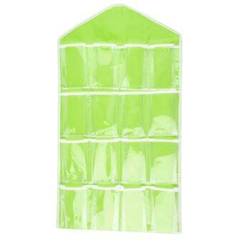 โอ้แบบพกพา 16 ช่องเก็บกระเป๋าเรียบร้อยแขวนผนังตู้เล่นออแกไนเซอร์สีเขียว