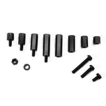 ชุดกสรู น็อต 260pcs M3 Nylon Hex Spacers Screw Nut Stand-off Plastic Accessories Assortment with Plastic Box Black