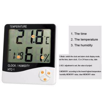 เครื่องวัดอุณภูมิและความชื้น พร้อมฟังก์ชั่นนาฬิกาปลุก (สีขาว) Digital LCD Thermometer Hygrometer Temperature Humidity Meter Gauge Alarm Clock