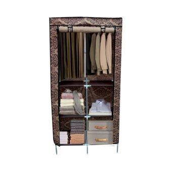 Replica Shop ตู้เสื้อผ้า 4 ชั้น พร้อมผ้าคลุม ลายไทยประยุกต์ดอกไม้สีน้ำตาล รุ่น 2886-2-4