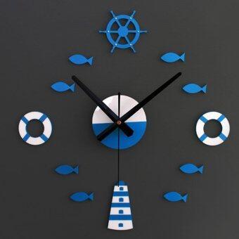 เมดิเตอร์เรเนียนซ่อมนู่น 3D ศิลปะการตกแต่งผนังบ้านนาฬิกาสติ๊กเกอร์ (สีน้ำเงิน)