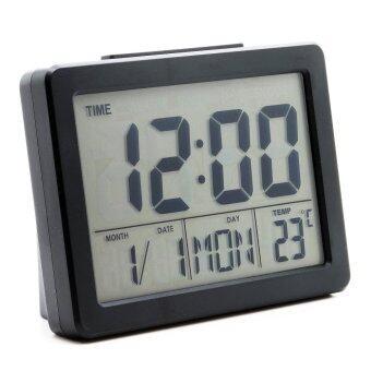 GooAB Shop นาฬิกาปลุกดิจิตอล หน้าจอ 6.5 นิ้ว แสดงอุณหภูมิ พร้อมไฟ Backlight - สีดำ
