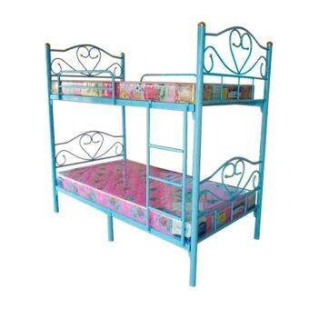 ISO เตียงเหล็ก2ชั้น ขนาด 3.5ฟุต สีฟ้า + ที่นอนใยยาง 3.5ฟุต 6นิ้ว รุ่นรีเจนท์ 2หลัง