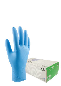 TONGA ถุงมือไนไตรบาง TGSOFT สีฟ้า ขนาด ใหญ่ (100 ชิ้น/กล่อง,50 คู่/กล่อง)