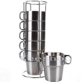 ชุดแก้วชากาแฟสแตนเลส 6 ใบ Coffee/Teamug Set