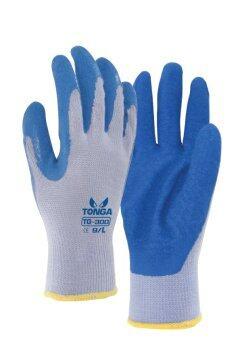 TONGA ถุงมือคอทต้อนเทาเคลือบยาง รุ่น TG300 สีน้ำเงิน ขนาด ใหญ่ (3 คู่/แพ็ค)