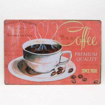 MonkeyAct ป้ายสังกะสีวินเทจ Coffee Premium Quality Since 1920