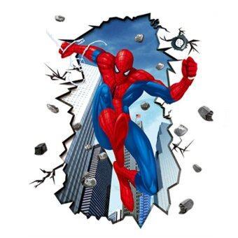 ความโปร่งใสแบบกระจกใหญ่ Hequ ยูวีรูปแบบสติกเกอร์ติดผนัง Spiderman 3D วิช่วลเอ็ฟเฟ็กต์