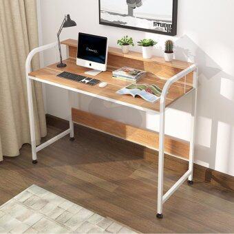CASSA โต๊ะอเนกประสงค์ โต๊ะคอมพิวเตอร์ โต๊ะอ่านหนังสือ พร้อมราวกั้น ทั้ง2ด้าน ยาว104cm (สีขาว-ลายไม้)รุ่น234-B281-104X50X88RW