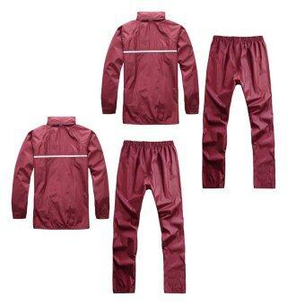ชุดกันฝน มีแถบสะท้อนแสง เสื้อคลุม + กางเกง ขนาดฟรีไซส์ (สีแดงเข้ม) x 2