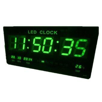 GooAB Shop นาฬิกา LED ติดฝาผนัง แบบบาง ขนาด 18 นิ้ว (ไฟสีเขียว)