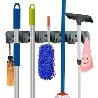ชุดแขวนวางด้าม 5ตำแหน่ง Mop And Broom Holder Kitchen Tool Organizer w/ Wall Mount
