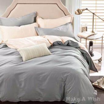 Lily Bedding ชุดผ้าปูที่นอน 6 ฟุต 6 ชิ้น พร้อมผ้านวม เกรด A ลาย BS036 - สีครีม/สีเทา