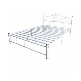 ISO เตียงเหล็กอย่างดี 5ฟุต รุ่น LOTUS ขา2นิ้ว สีขาว