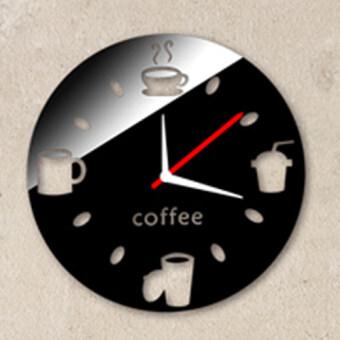 แฟชั่นการออกแบบถ้วยกลมฝีมือด้วยกระจกนาฬิกาที่ผนังบ้านการตกแต่งผนังสติ๊กเกอร์ (สีดำ)