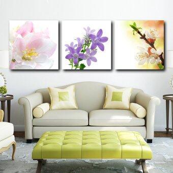 ELLEN กรอบรูป กรอยลอย ภาพพิมพ์ ภาพตกแต่งบ้าน รูปติดผนัง พร้อมแขวน รูปติดผนังกรอบลอย ดอกไม้ 3 ช่อ3ชิ้น ผ้าแคนวาส มีกรอบ40*40 cm