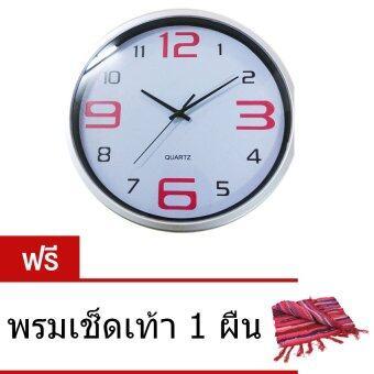 CKL นาฬิกาแขวนผนัง 12 นิ้ว ลายพื้นตัวหนังสือสีแดง รุ่น N-319 ( ฟรี พรมเช็ดเท้า 1 ผืน )