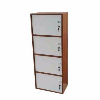 Grace Shop ตู้ล๊อกเกอร์ ตู้เก็บของ ชั้นไม้เอนกปรนะสงค์ 4ชั้น พร้อมบาเปิดปิดมีกุญแจ รุ่น Locker cabinet (สีลายไม้สัก)