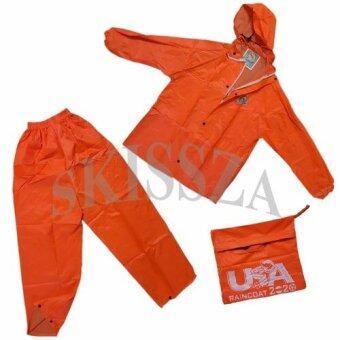 ชุดกันฝน มีแถบสะท้อนแสง เสื้อ+กางเกง+กระเป๋า ขนาดฟรีไซส์ (สีส้ม)