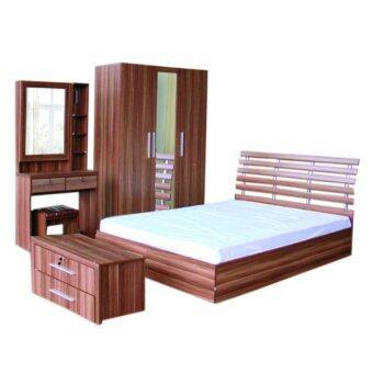 RF Furniture ชุดห้องนอนDD 5 ฟุต เตียง 5 ฟุต + ตู้เสื้อผ้า135cm + โต๊ะแป้ง 80 ชม + ตู้ข้างเตียง+ ที่นอนสปริง ( สีวอลนัท )