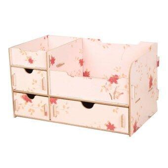 IdeaAye กล่องไม้ ใส่ของ ของจุกจิก เครื่องประดับ เครื่องสำอาง (สีชมพูลายดอกไม้)