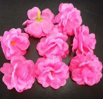 Dokpikul-หัวดอกกุหลาบมอญ ดอกไม้ปลอม ดอกไม้ผ้าประดิษฐ์ ขนาด 5.5ซม.แพค 100ดอก-สีชมพูเจ้าสาว