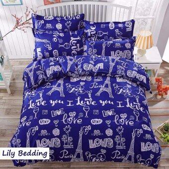 Lily Bedding ผ้าปูที่นอน 6 ฟุต 5 ชิ้น + ผ้านวม เกรดเอ ลาย CT021 - Paris
