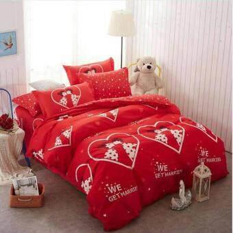 Sweet Kip ชุดผ้าปูที่นอน 6 ฟุต พร้อมผ้านวม 5 ชิ้น ลายคู่รักสีแดง2