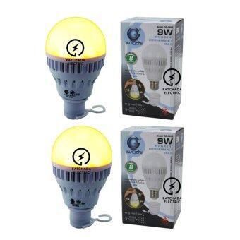 แพค 2 หลอด Iwachi หลอดไฟแอลอีดี อัจฉริยะ มัลติฟังก์ชั่น ปรับแสงได้ 3 แบบ แสงไล่แมลง, แสงเดย์ไลท์, แสงคลูเดย์ไลท์ 9 วัตต์