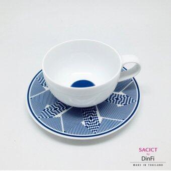DinFi Premiere Porcelain ถ้วยกาแฟชุด ยุธยา สีน้ำเงิน YUTYA COFFEE & TEA in BLUE 2ชิ้น