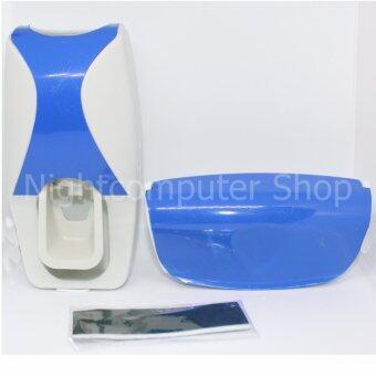 FAHSAISHOP-ที่บีบยาสีฟัน เครื่องบีบยาสีฟันอัตโนมัติ พร้อมที่แขวนแปรงสีฟัน-สีน้ำเงิน