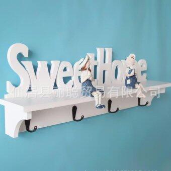 ชั้นตกแต่งผนัง Sweet home แบบมีที่แขวน - สีขาว DIY